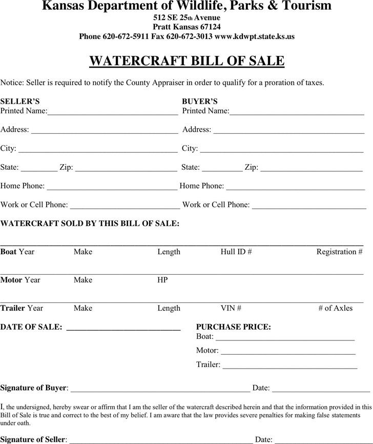 Kansas Watercraft Bill of Sale Form