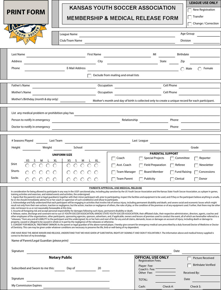 Kansas Youth Soccer Association Membership & Medical Release Form