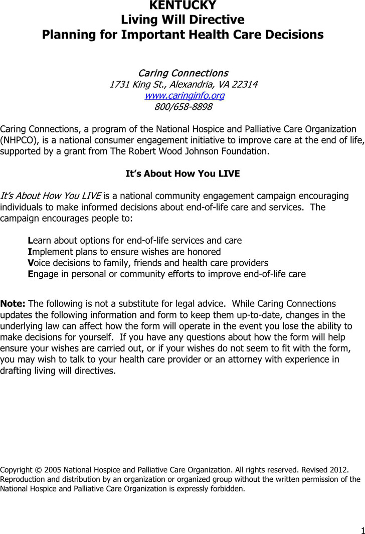 Kentucky Advance Health Care Directive Form 1