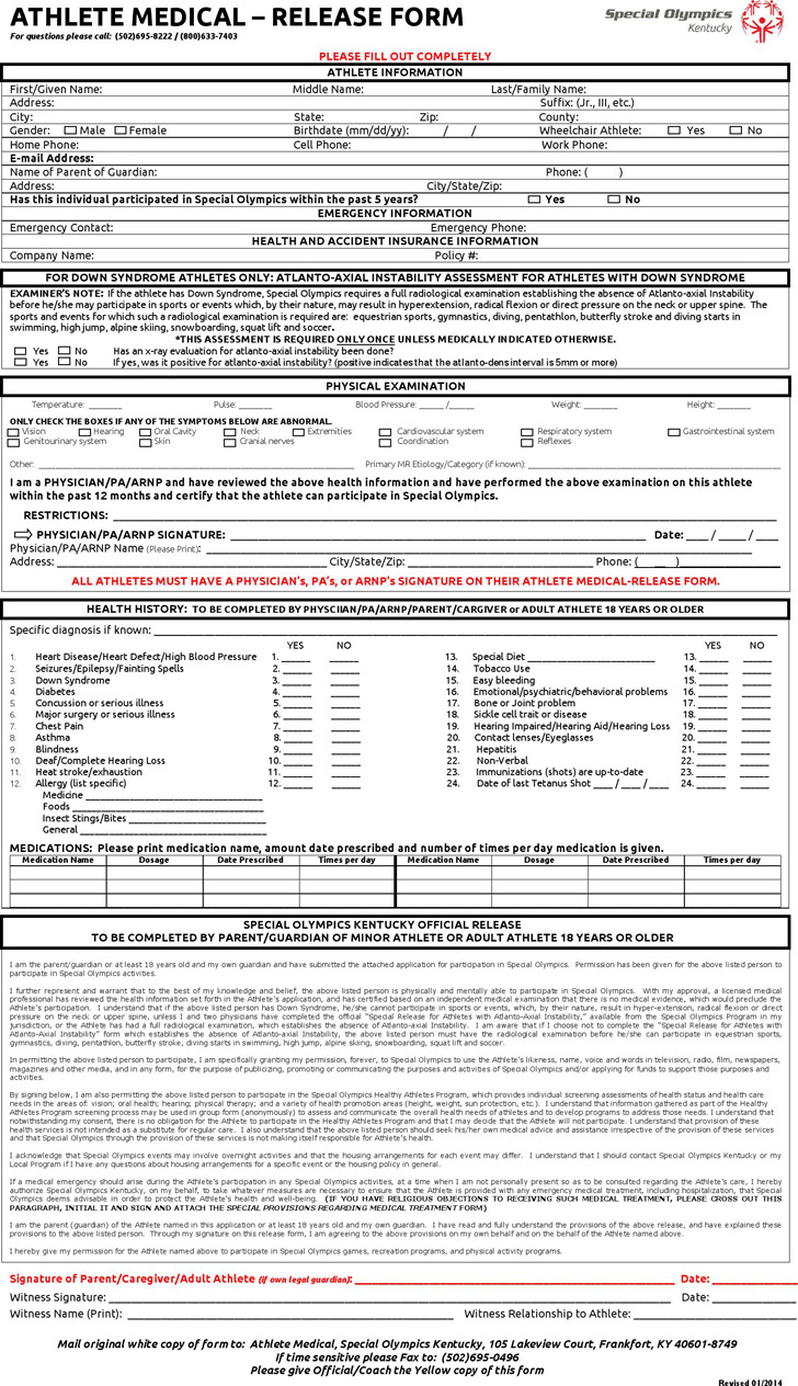 Kentucky Athlete Medical - Release Form