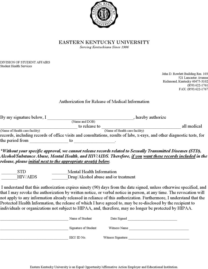 Kentucky Authorization for Release of Medical Information Form