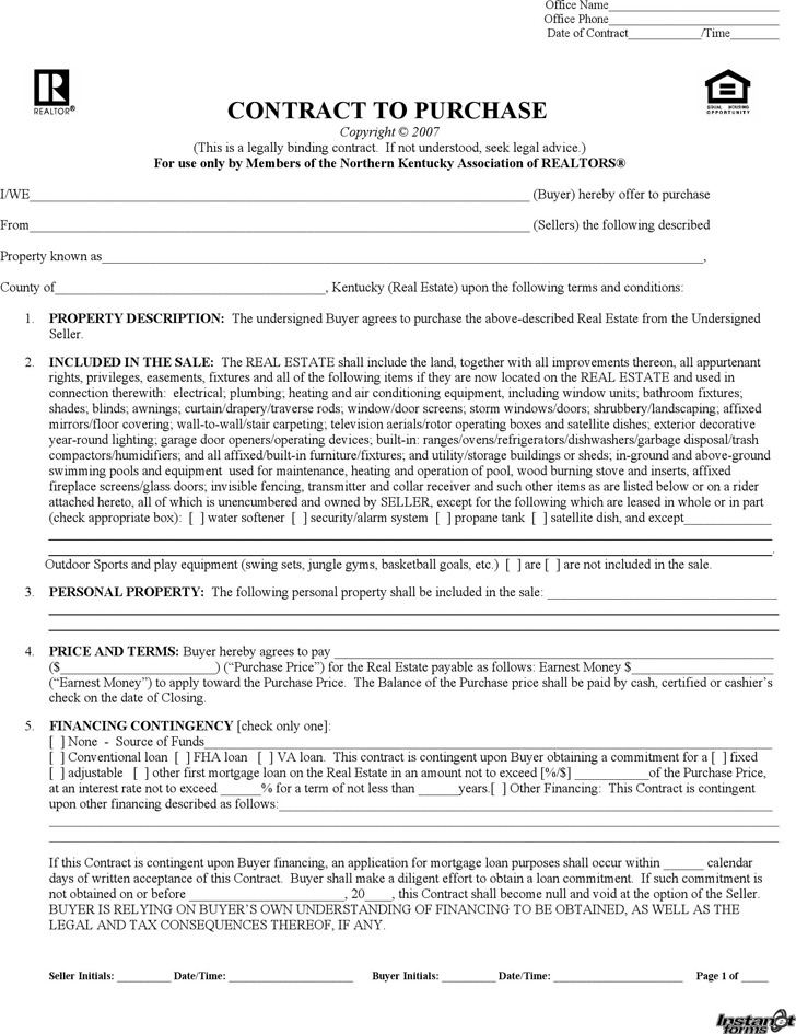 Kentucky Offer To Purchase Real Estate Form  Download Free