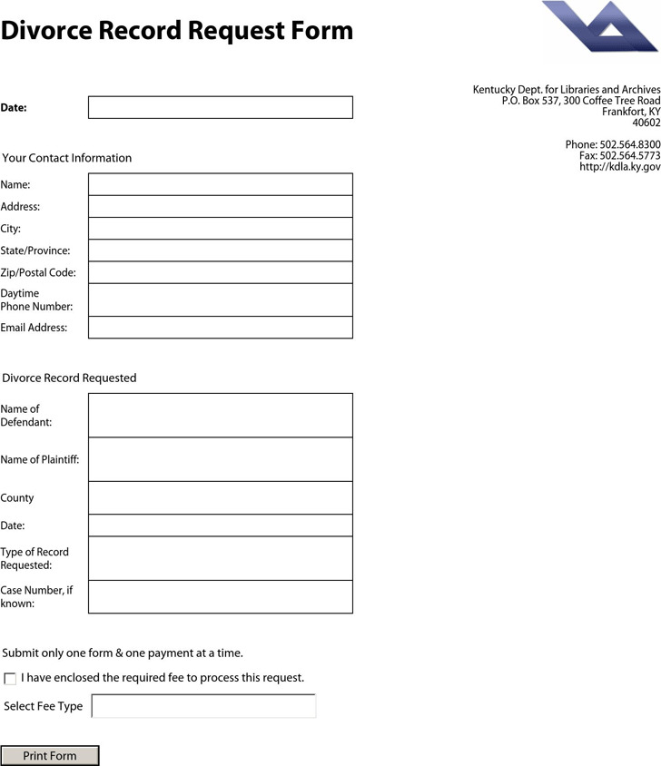 Kentucky Divorce Record Request Form