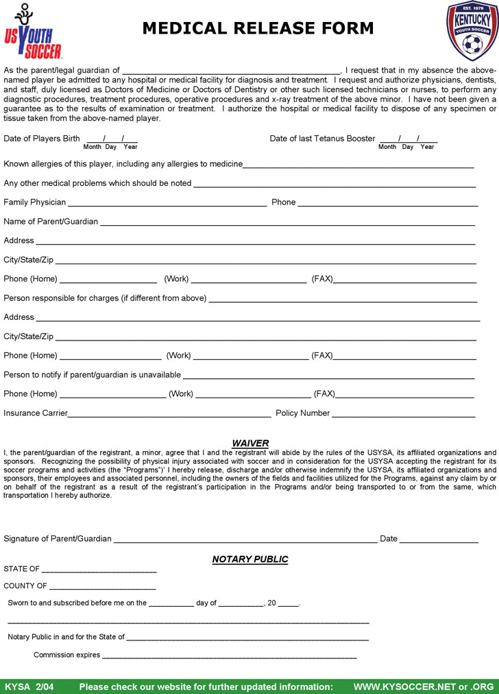 Kentucky Medical Release Form