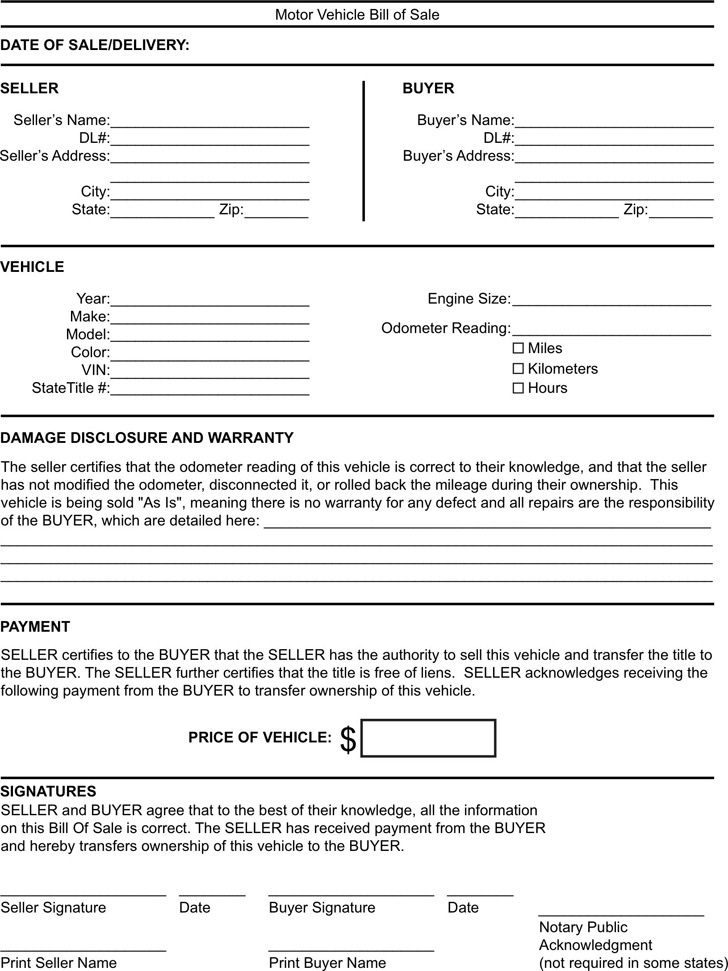 Kentucky bill of sale form download free premium for Free motor vehicle bill of sale