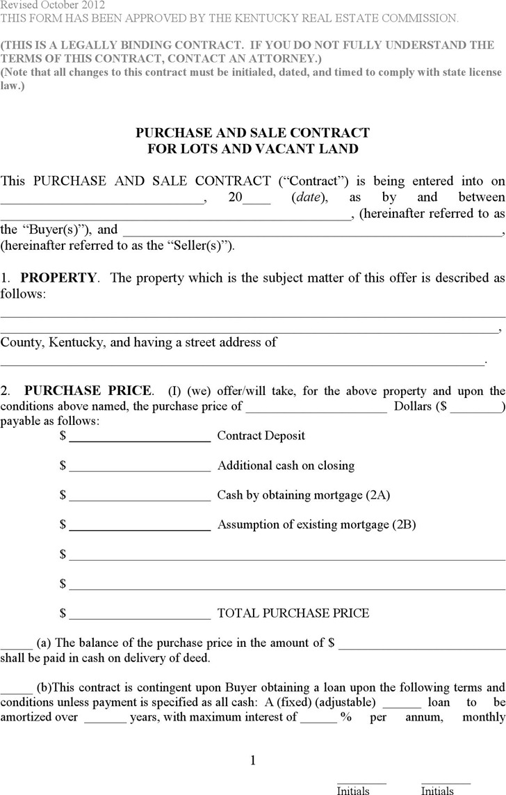 Kentucky Purchase and Sale Contract for Lots and Vacant Land Form
