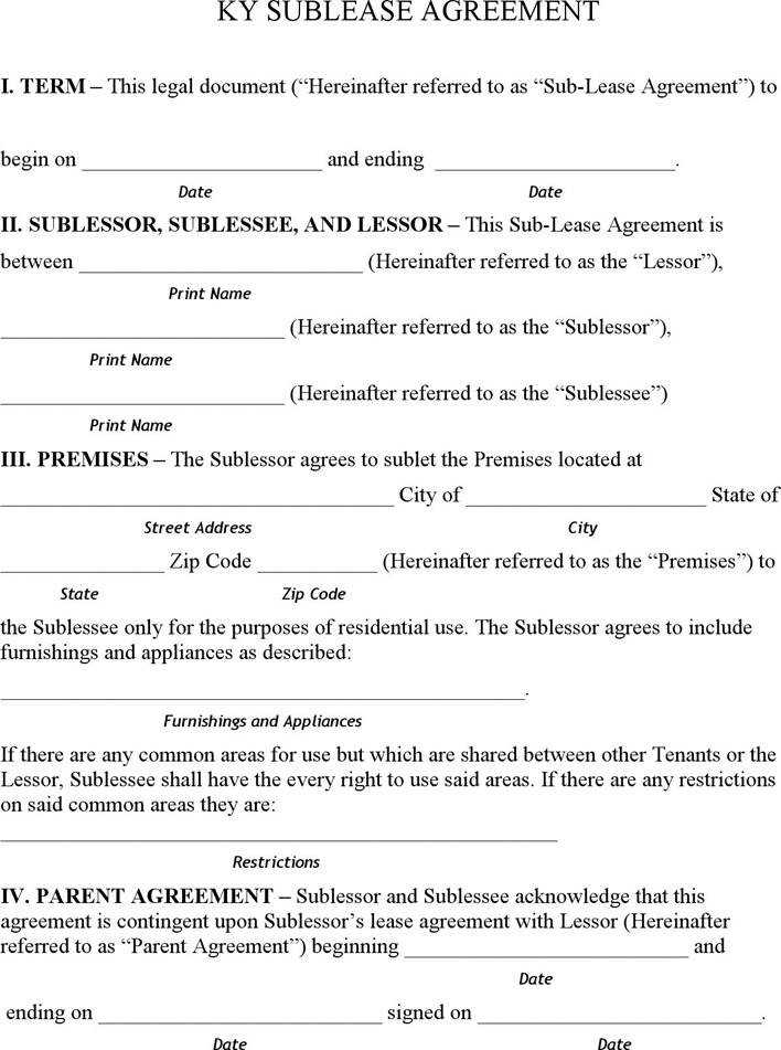 Sublet Lease Agreement Template  ApigramCom