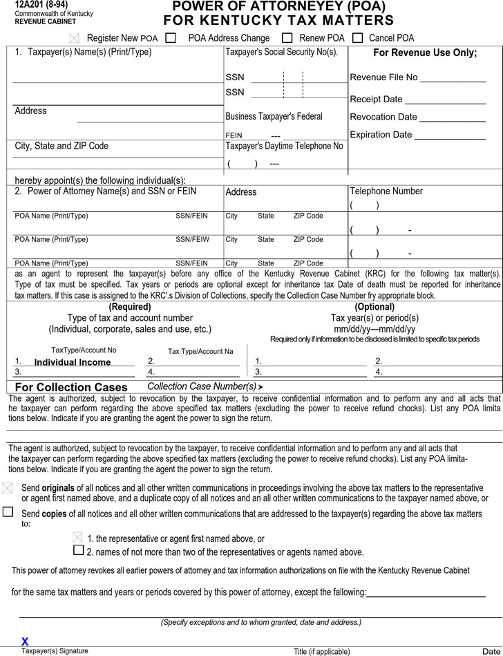 Kentucky Tax Power of Attorney Form