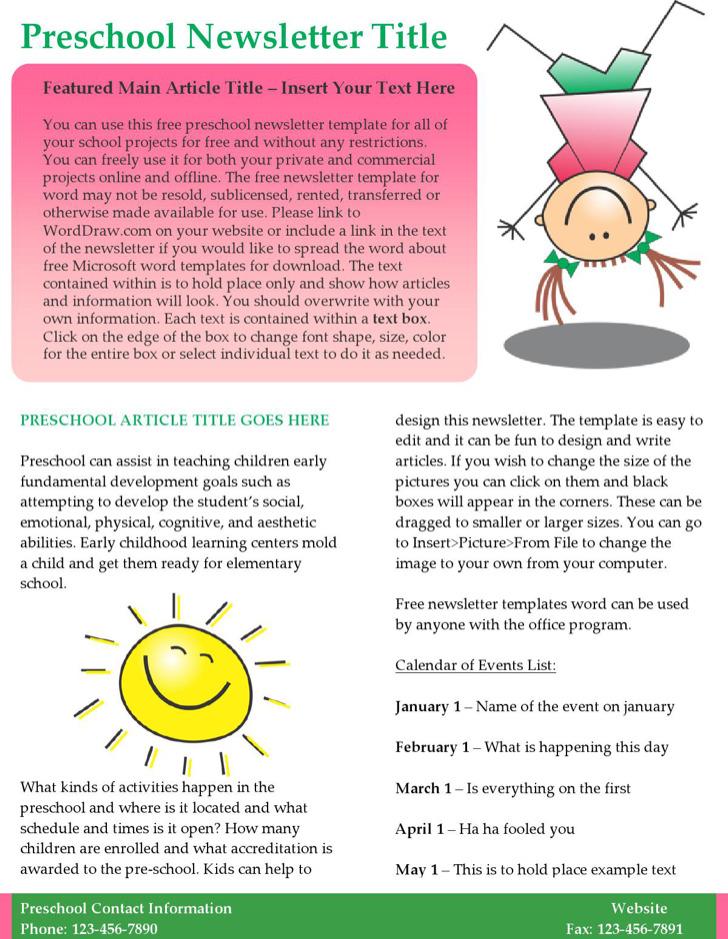 Kids Preschool Newsletter Template Word Format