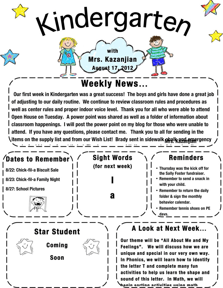 Kindergarten Newsletter Template | Download Free & Premium Templates ...