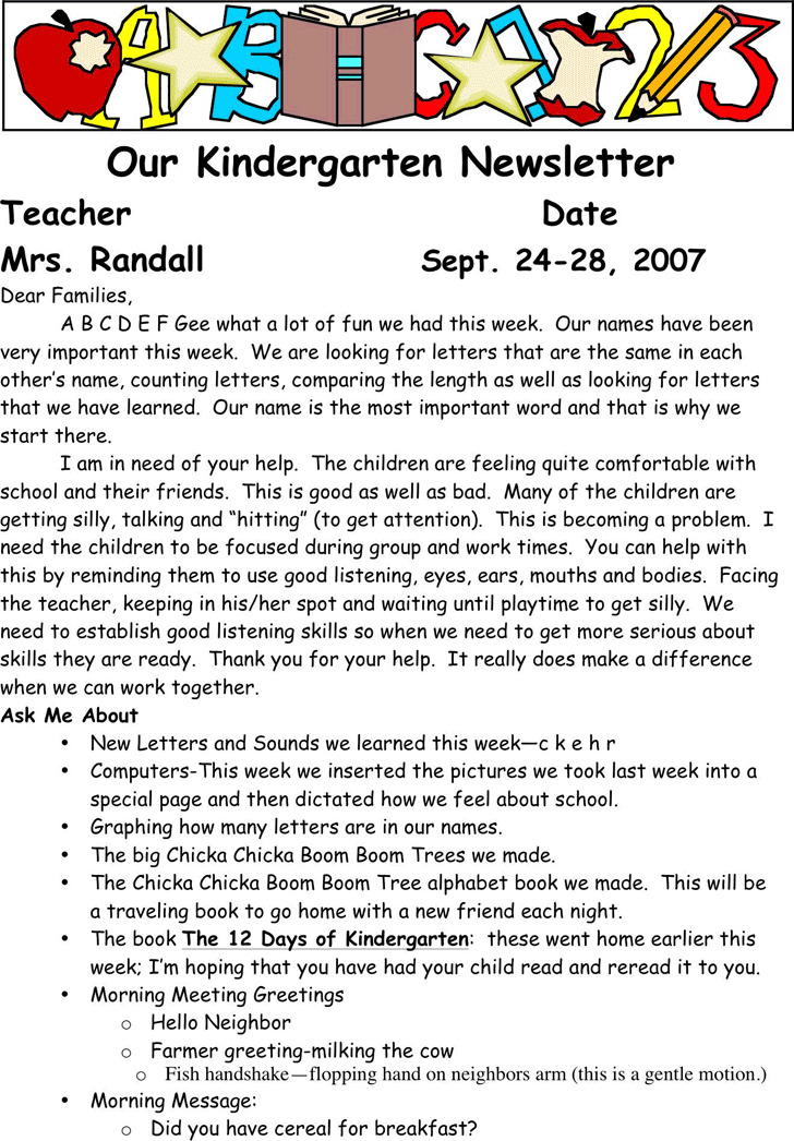 Kindergarten Newsletter Template 3