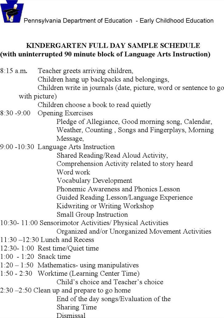 Kindergarten School Schedule Template