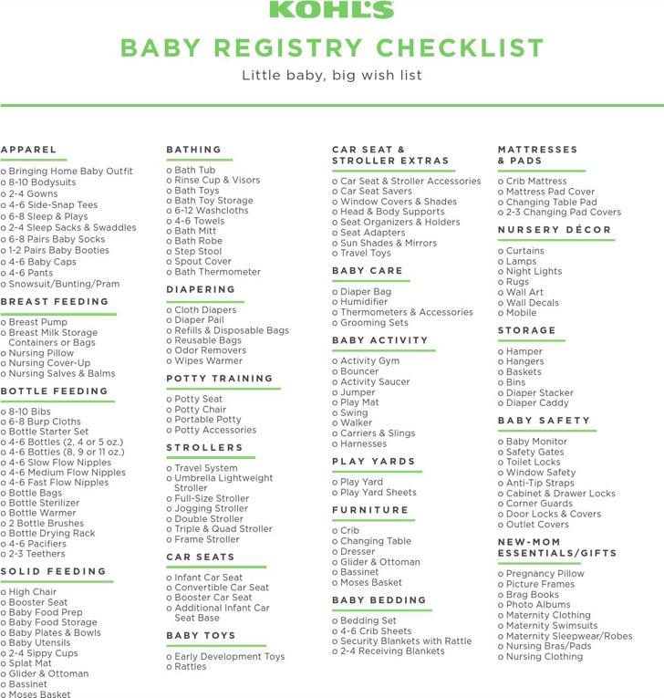 Kohls Baby Gift Registry Checklist