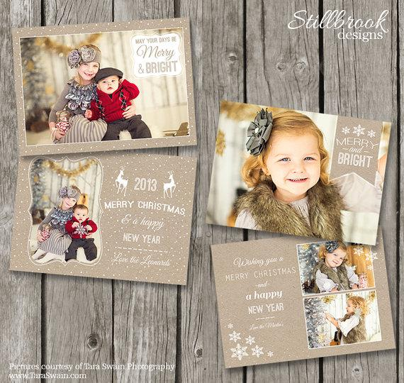 Kraft Photo Holiday Card Template - $24
