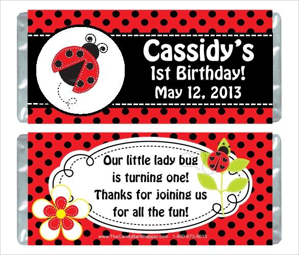 Ladybug Birthday Party Wrappers Template Download