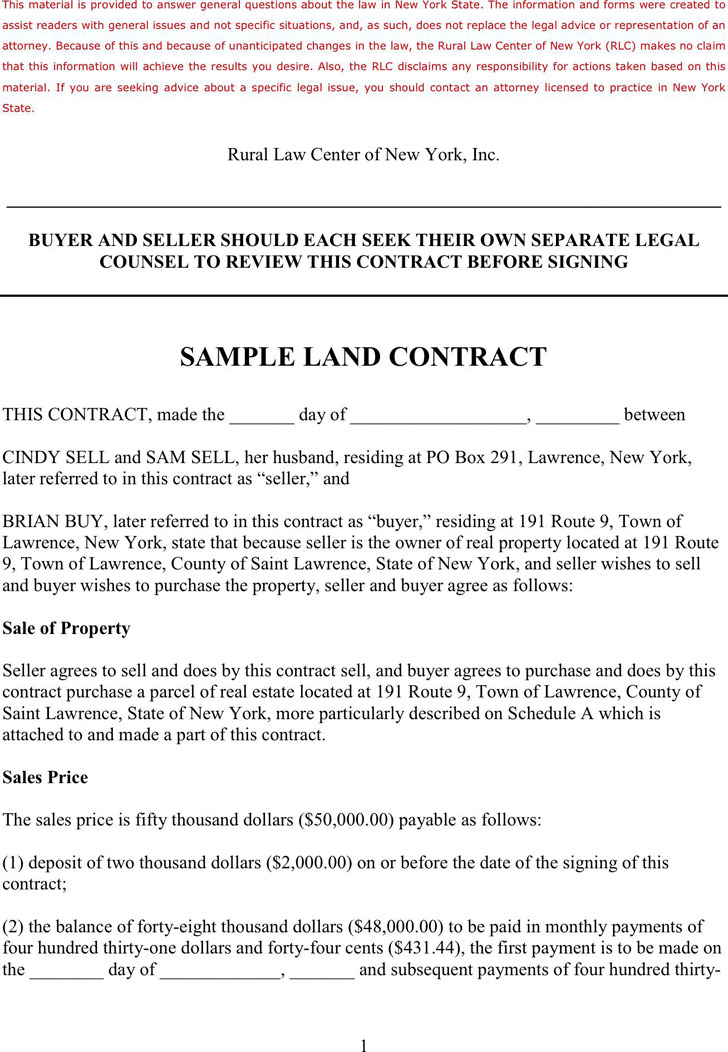 Land Contract Template  Download Free  Premium Templates Forms