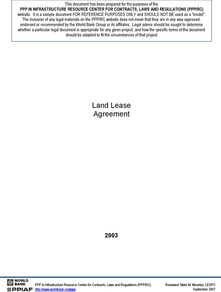 Sample Land Lease Agreement Land Rental And Lease Form Simple
