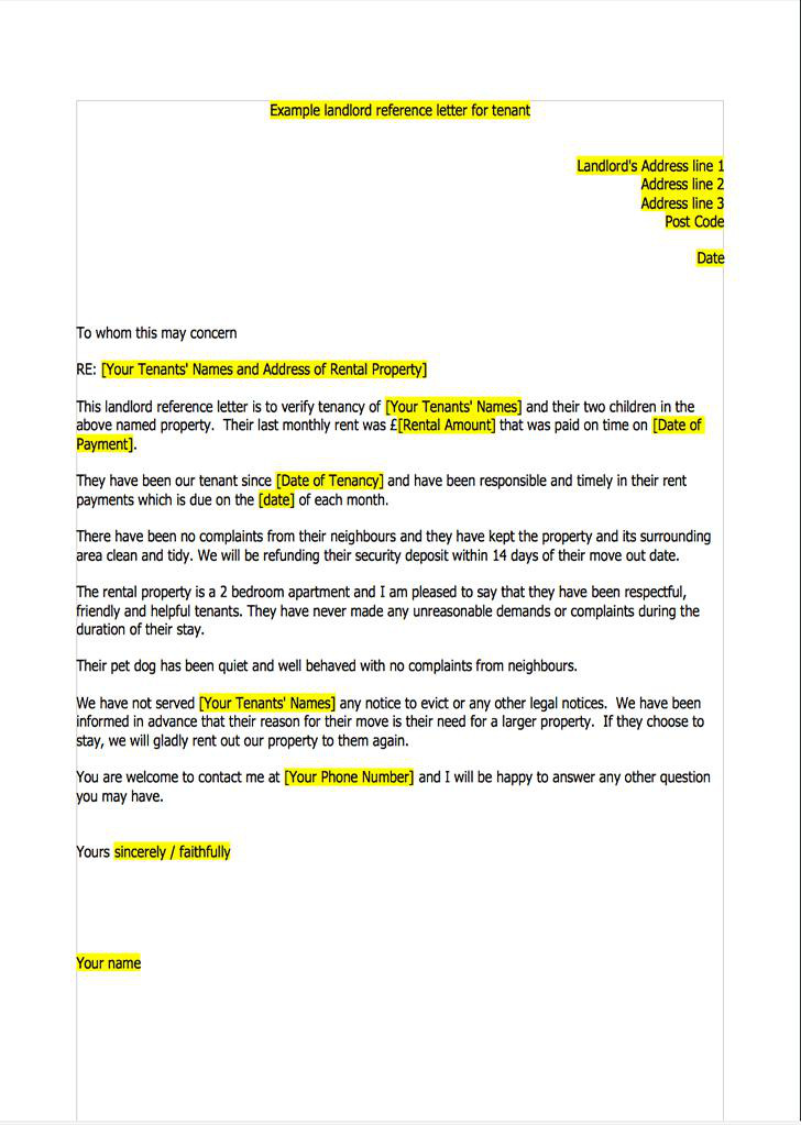 Sample Landlord Reference Letter Templates  Download Free