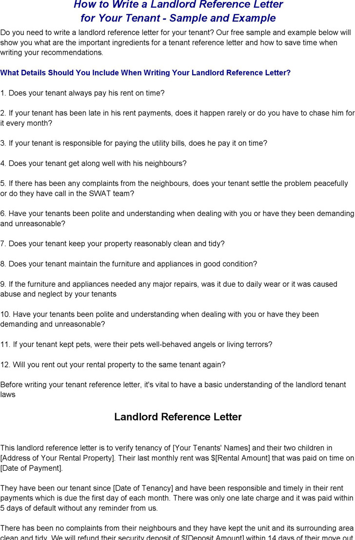 landlord reference forms