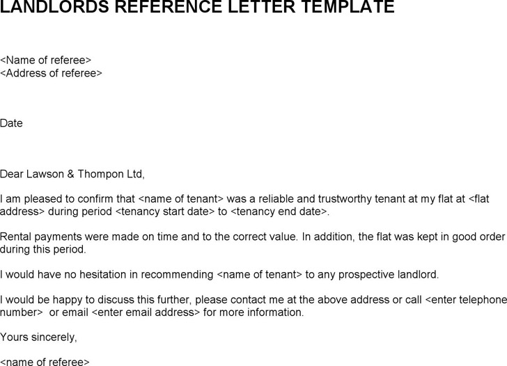 Landlord Reference Template Landlords Reference Letter Template