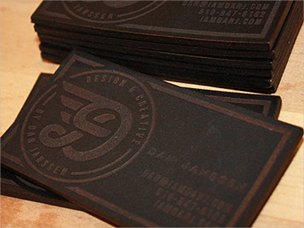 Laser Engraved Leather Business Card
