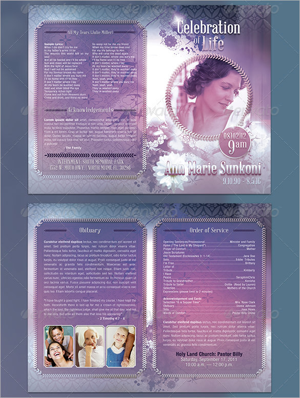 Obituary Program Template  ApigramCom