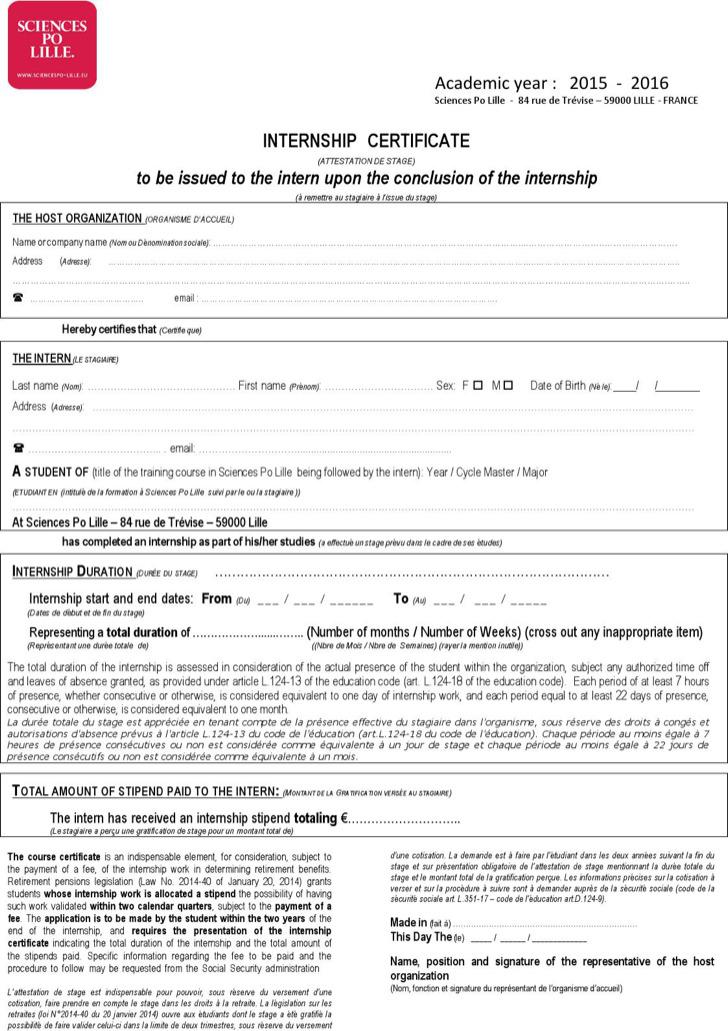 Law Internship Certificate Template