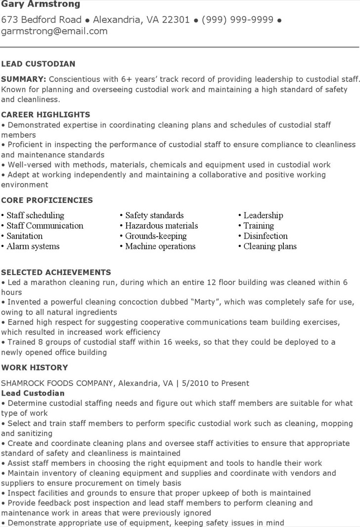Lead Custodian Resume