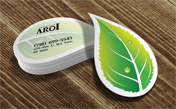 Leaf Die Cut Business Card
