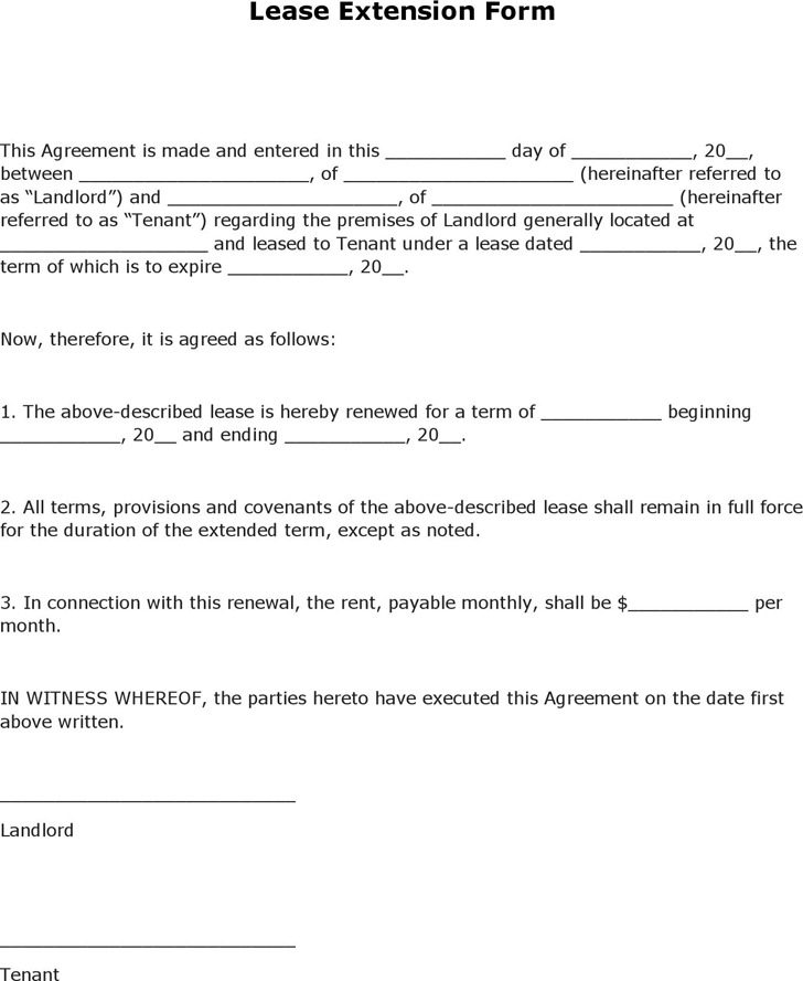 Lease Extension Agreement  Download Free  Premium Templates