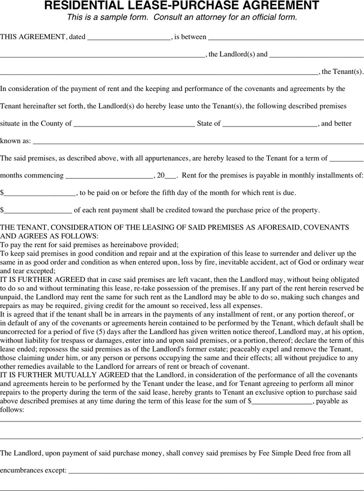 Residential Lease Purchase Agreement