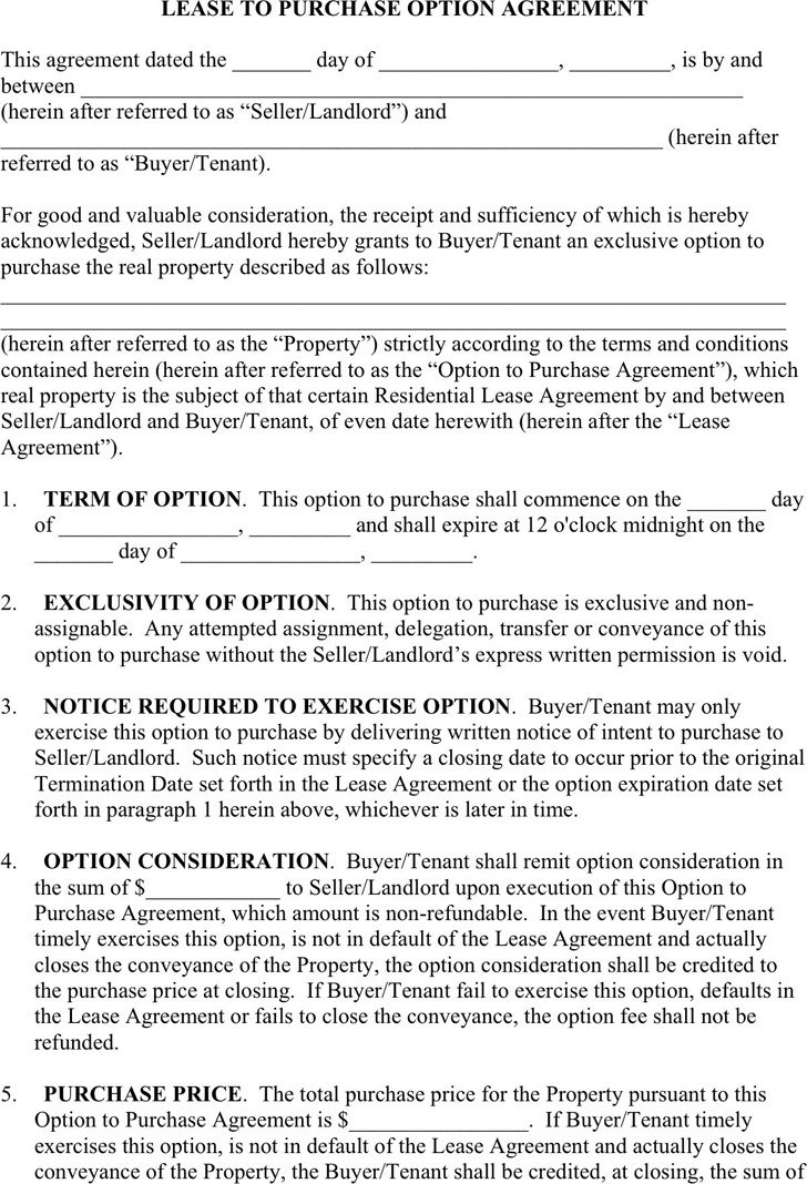 Lease to Purchase Option Agreement