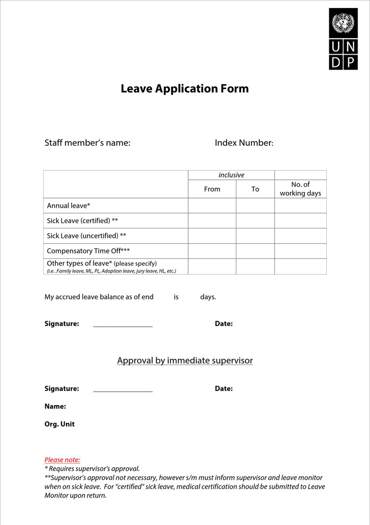 Application for Leave – Leave Form Templates