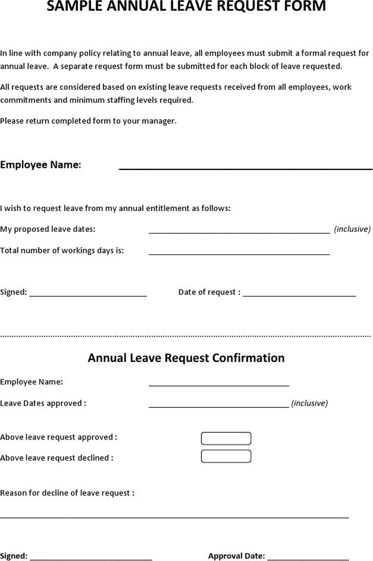 employee request for leave of absence form 10 annual leave – Sample Leave Request