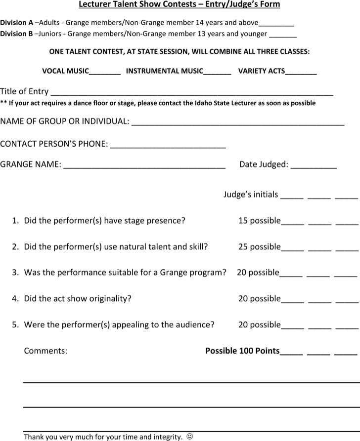 Lecturer Talent Show Contests Entry/Judges Form