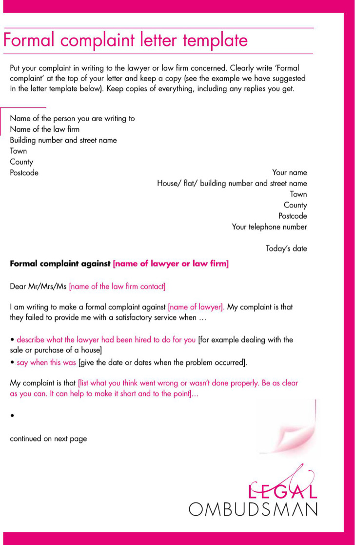 complaint letters premium templates forms legal formal complaint letter template pdf printable