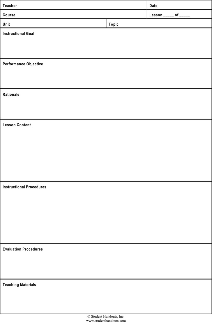 Lesson Plan Template 1  Lesson Plan Template Download