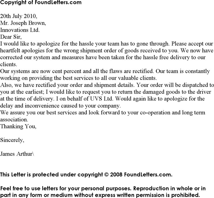 Apology Letter for Mistake – Letter of Apology for Mistake