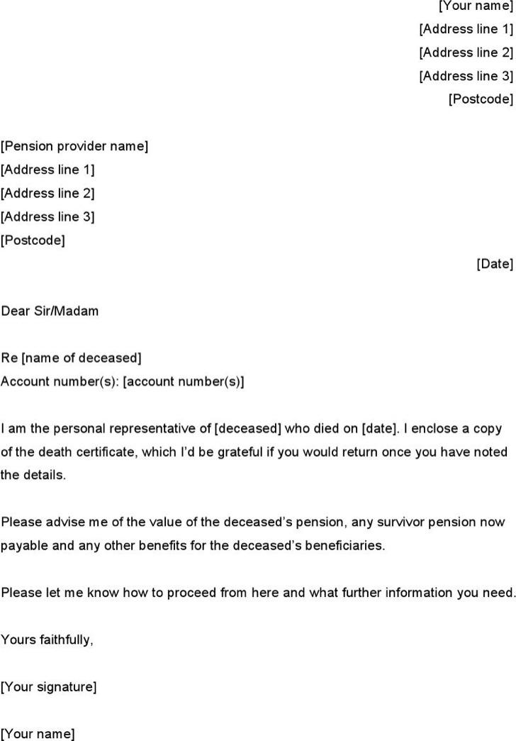 Letter Of Death Notice Excel Download