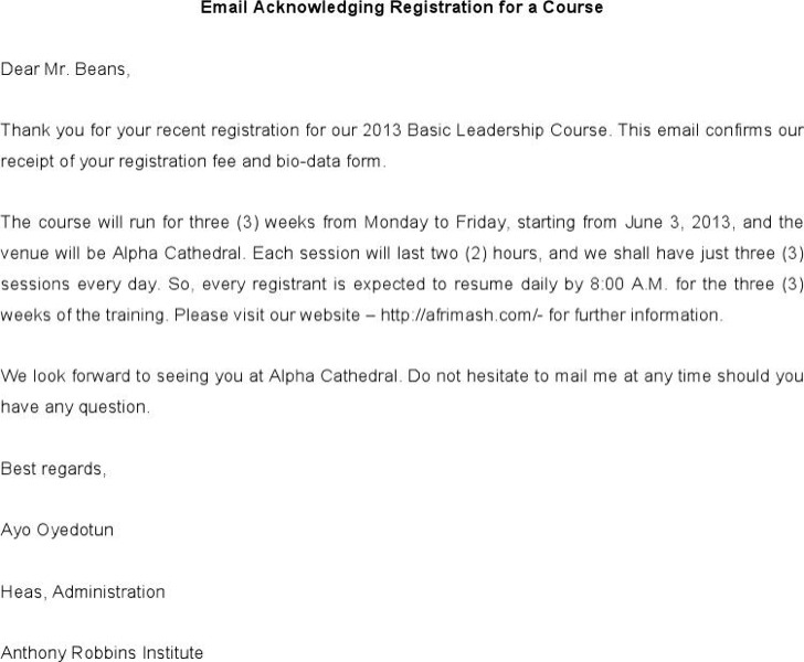 Letter Of Email Acknowledging Registration For A Course Example