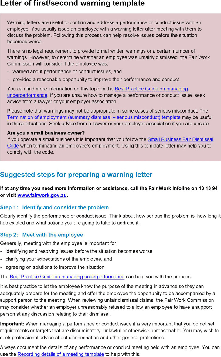 3+ Warning Letter Sample Free Download