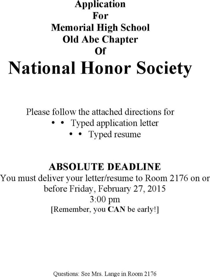 Letter Of Intent For National Honor Society