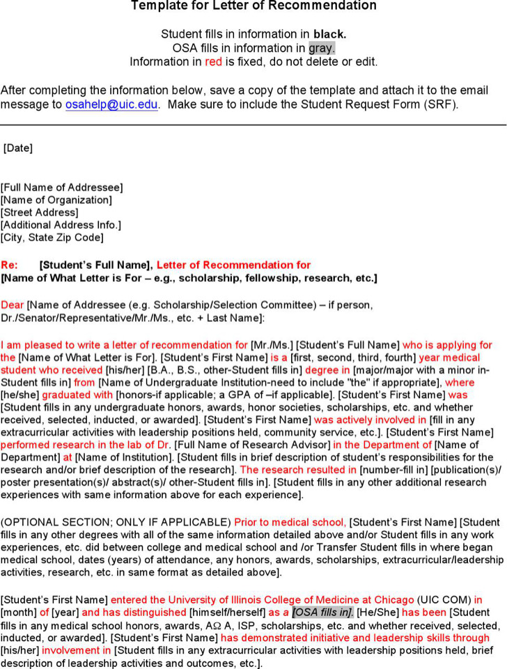 Letter Of Recommendation For Scholarship From Mentor Word Format