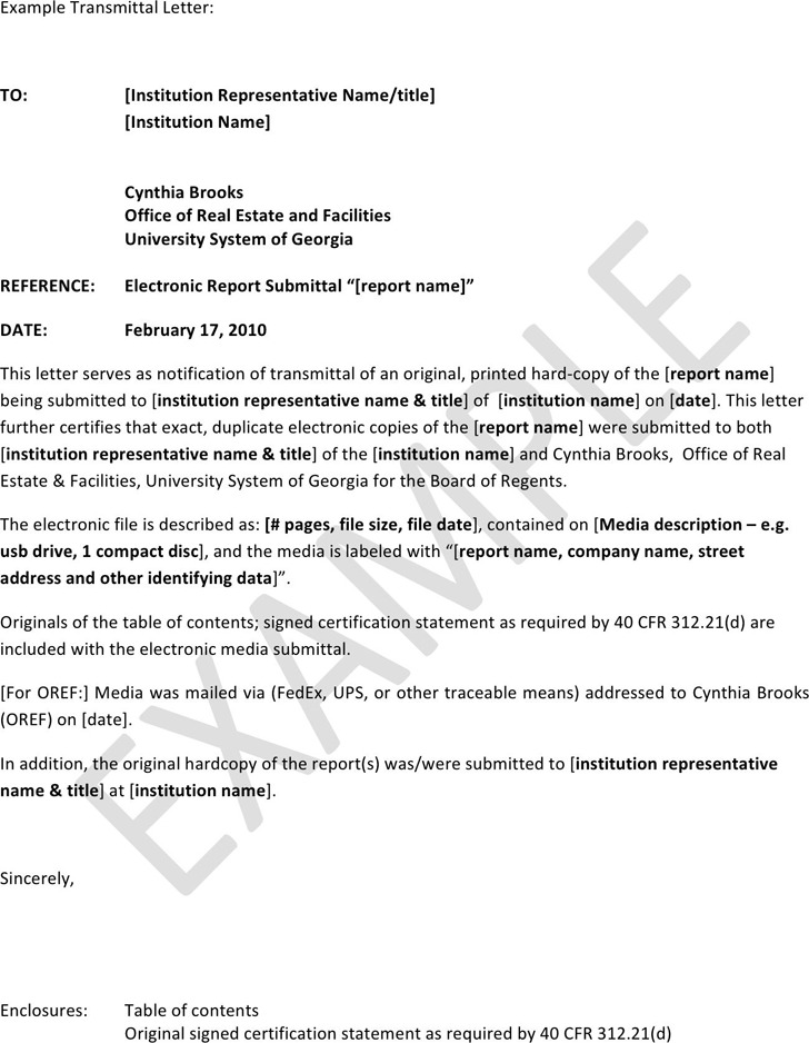 Letter of Transmittal Example 2