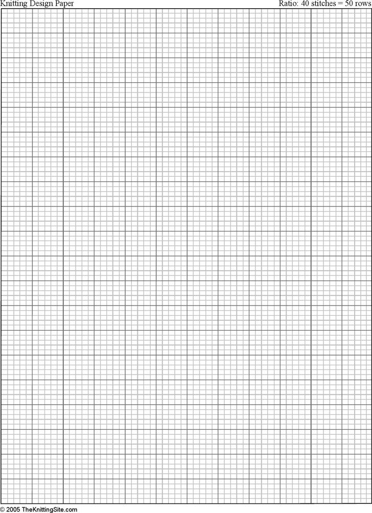 Letter Sized Knitting Graph Paper, Ratio 4:5, Portrait Orientation
