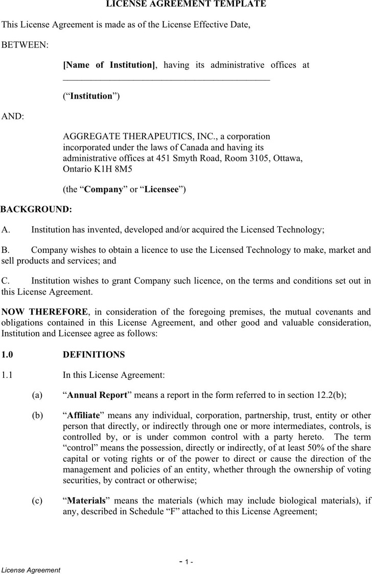 License Agreement Template 2