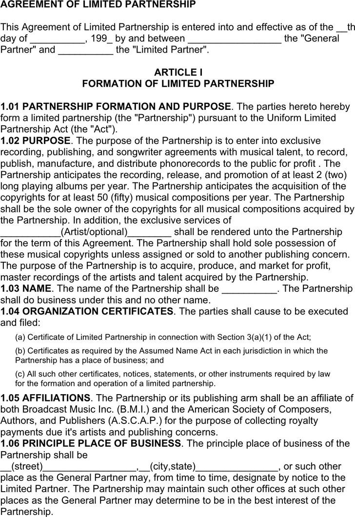 Partnership Agreement Form