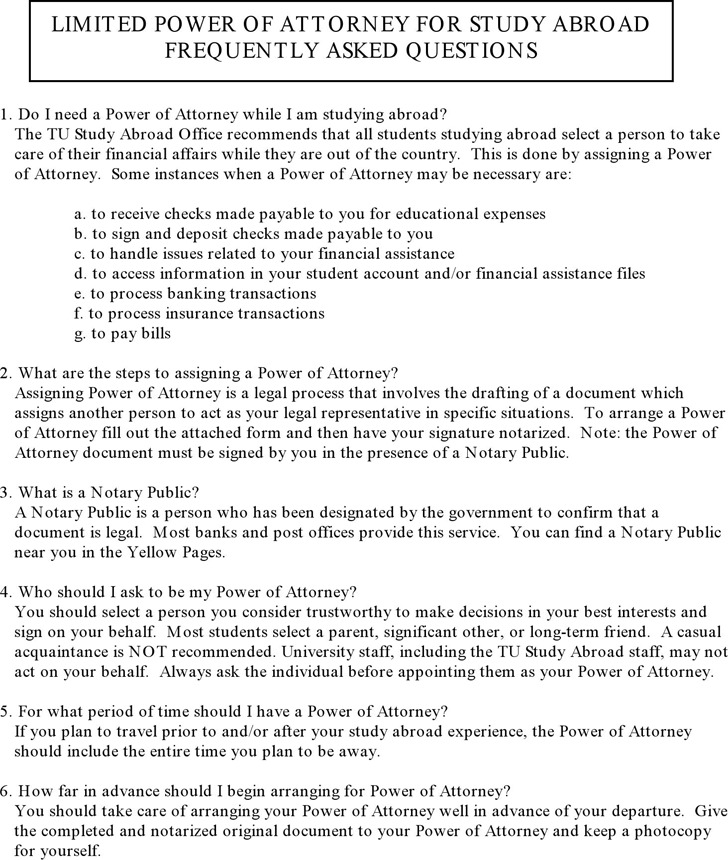 Limited Power Of Attorney Form | Download Free & Premium Templates