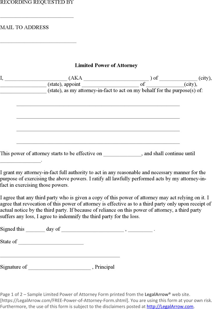 Limited Power Of Attorney Form  Download Free  Premium Templates