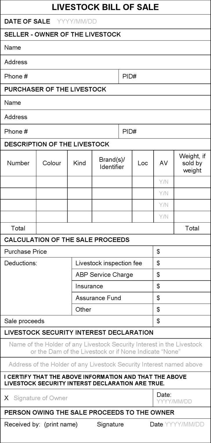 Livestock Bill of Sale 3